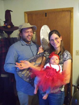My wife, baby and I at a recent Halloween party. Butterfly, ladybug, and bug catcher respectively. Aren't we cute!